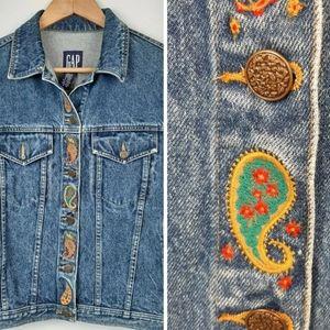Vtg GAP Denim Trucker Jacket Paisley Embroidered M